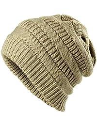 JAKY-Global Cavo Knit Beanie slouchy cappello in pile foderato Cuff  Toboggan uncinetto di lana berretto invernale di spessore… e5b035b7cdb1