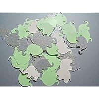 Konfetti Elefant hellgrün glitzerndes Silber weiß (handgemacht Konfetti)