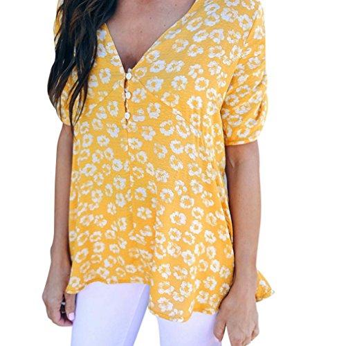 Hevoiok Damen Kurzarm-Shirt Oberteile Sexy Blumenmuster Bluse Neu Frühling Sommer Falten V-Ausschnitt Knopf T Shirt Frauen Casual Beiläufig Tops (Gelb, S)