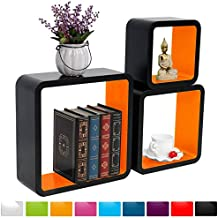 WOLTU RG9269or-c Schweberegal Wandregal CD/DVD Cubes, MDF Holzregal, Hängeregal Bücherregal, Schwarz/Orange