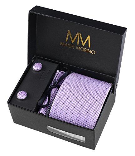 Designer Krawatte - Box Set mit Einstecktuch, Manschettenknöpfe und Krawattennadel, handgenäht aus Mikrofaser Kunstseide in verschiedene Farben, inkl. Geschenkbox (Lila) (Schwarz Und Lila Hochzeit)
