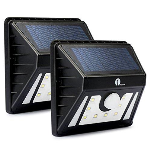 1byone Faretto 8 LED ad Energia Solare per Esterno, Luci LED Solari Impermeabili, Lampada Solare con 3 Diverse Modalità con Sensore di Movimento per Sicurezza, Nero, 2 Pezzi