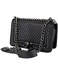 6df57054d9 Borsa trapuntata con catena tracolla color nera Borsetta elegante da donna  Pochette a spalla cerimonia nera