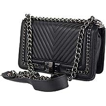 bd36ab0255 Borsa trapuntata con catena tracolla color nera Borsetta elegante da donna  Pochette a spalla cerimonia nera