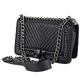 Borsa trapuntata con catena tracolla color nera Borsetta elegante da donna Pochette a spalla cerimonia nera Nero