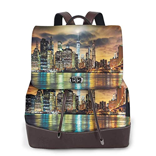 Women's Leather Backpack,Fantasy Dramatic Sky In New York at Nighttime Stormy Sunset Vibrant Water Reflections,School Travel Girls Ladies Rucksack