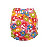 Baby Bucket All-In-One Bottom-bumpers Cloth Diaper With 1 Cloth Diaper pad (M.Pink Flower)