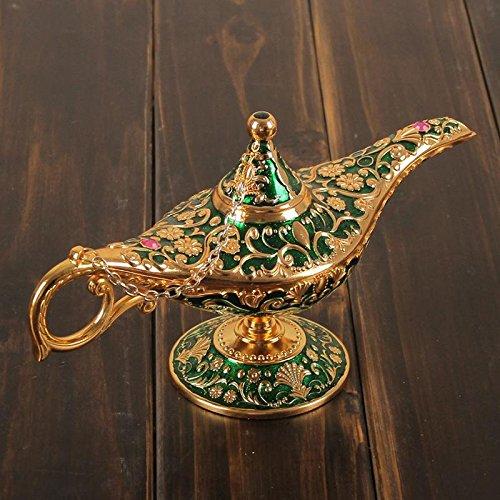 Genie Green Kostüm (HINEW sammelbare Kupferlegierung aladdin magische genie helle Lampe Hauptdekoration Geschenk 21 * 12cm ,)