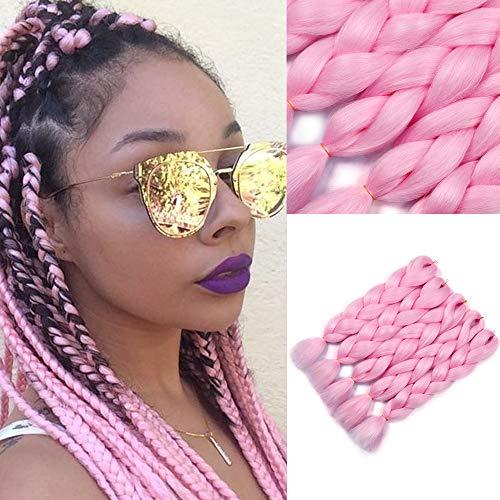 YMHPRIDE Extensiones cabello trenzado rosa jumbo moda