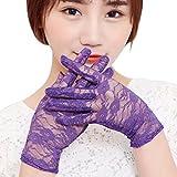 Eizur 1 Paar Sommer Frauen Dame Girl Sexy Lace Floral Handschuhe kurz Sun UV-Schutz Proof Thin elegante kurze Handschuhe Hochzeit Handschuhe für Kleid, Fahren, Hochzeit-Lila