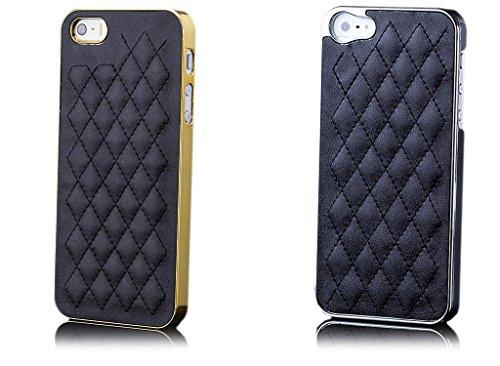 iCues Apple iPhone SE / 5S / 5 |  Chrom Stepp Case Gold / Weiss | [Display Schutzfolie Inklusive] Chrome Leder - Imitat Schutzhülle Hülle Cover Schutz Silber / Pink
