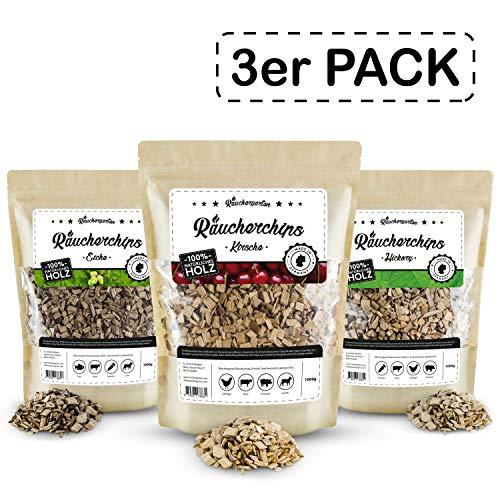 Räuchergarten Premium 3-er Set Räucherchips - 3 x 1 kg BBQ Mix (Eiche, Hickory, Kirsche) - nur 9,97 €/kg!!! - 100% natürliches Räucherholz