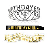 Konsait Crystal Birthday Girl Tiara Crown Princess Headband Hair Accessories and Black Glitter Birthday Girl Sash and Temporary Tattoo for Women Kids Birthday Gift Party Supplies Decoration