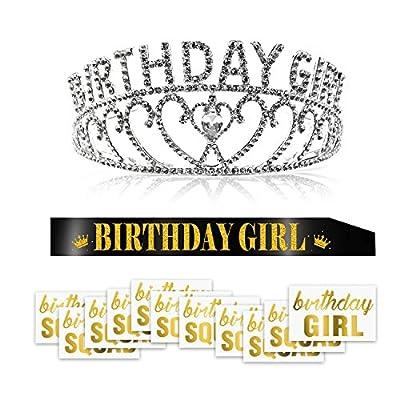 Konsait Crystal Birthday Girl Tiara Crown Princess Headband Hair Accessories and Black Glitter Birthday Girl Sash and Temporary Tattoo for Women Kids Birthday Gift Party Supplies Decoration