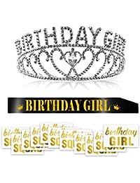 Konsait Crystal Cumpleaños Diadema Tiara Princesa Crown y Brillo Negro Banda de cumpleaños y Tatuaje Temporal para Mujeres Niños cumpleaños Suministros de Fiesta Decoración o Regalo
