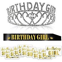 2774beac054de Konsait Crystal Cumpleaños Diadema Tiara Princesa Crown y Brillo Negro  Banda de cumpleaños y Tatuaje Temporal
