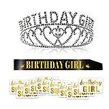 Konsait Kristall Geburtstag Mädchen Tiara Krone Prinzessin Diadem Haar-Zusätze und Schwarz Glitter Geburtstag Mädchen Schärpe und temporäre Tattoo für Frauen Kinder Geburtstags Party, Geschenk