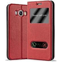 Cadorabo - Funda Book Style de Cuero Sintético en Diseño View para Samsung Galaxy J5 (6) - Modelo 2016 con Imán Invisible. Función de Soporte y Doble Ventana – Libro Etui Case Cover Carcasa Caja Protección en ROJO-AZRAFÁN