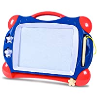 SGILE Magnetic Drawing Board - Lightweight Non-Toxic Travel Scribble Board, Round-edged Colorful Magna Doodles, Writing Painting Pad Learning Toys for Kids Toddlers Baby