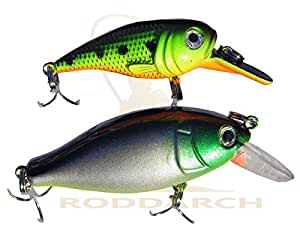 2 x Fishing Plug Rattler Pike Perch Spinner Spoon Lure Set Deep & Shallow Divers