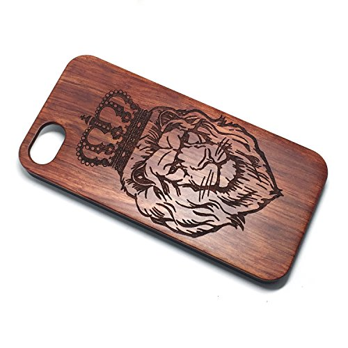 Apple 5/5S/SE Case,iPhone 5/5S/SE Custodia, Custodia in Natura Legno con Copertura Difficile di PC Case Cover per Apple iPhone 5/5S/SE(4.0 Pollici)(flower) Rose Lion crown