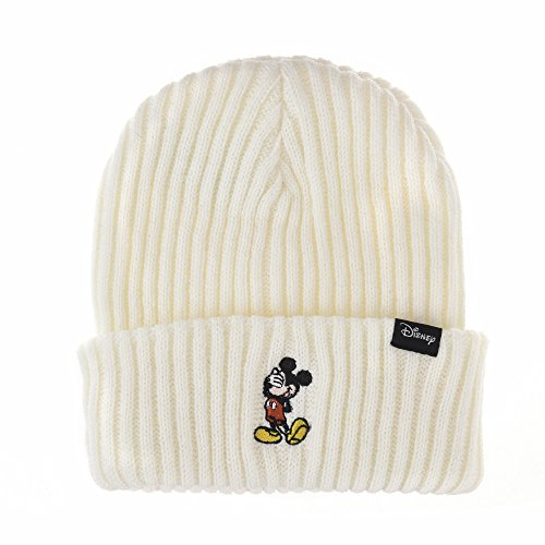 WITHMOONS Berretto Cappello Disney Mickey Mouse Ribbed Beanie Hat Slouchy CR5549 (Ivory)