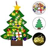 Faburo Feltro Albero Natale, Albero di Natale in Feltro per Bambini 100cm della Feltota di DIY con 30pcs Ornamenti Staccabili con 300cm Ornamenti LED Regali di Natale