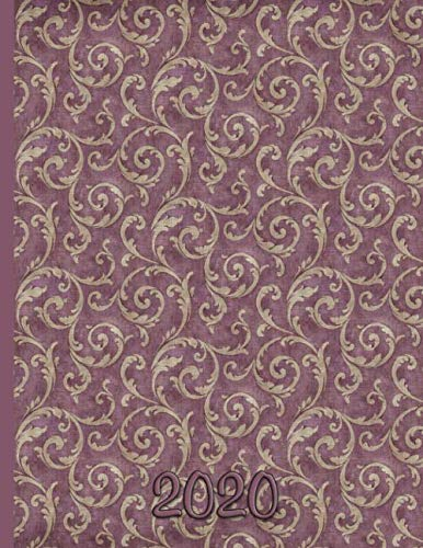 Wallpaper Damask Design - Mauve and Gold: 2020 Schedule Planner and Organizer / Weekly Calendar Gold Chintz