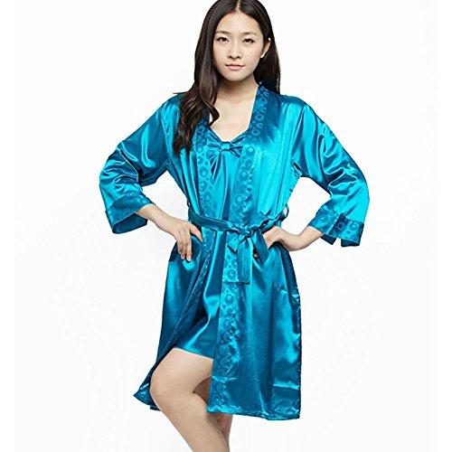 CHUNHUA modèles printemps explosion extérieure pyjama usure soie soie bretelles imitation deux pièces robe survêtement (couleur en option) , pink , l malachite green