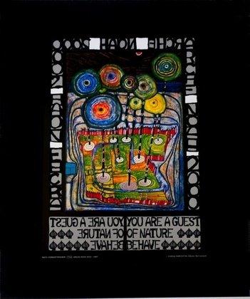 Germanposters Hundertwasser Poster Kunstdruck Bild - Arche Noah - 50x40cm mit Folienprägung