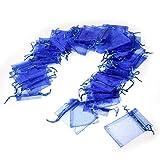 JZK 50 Piezas bolsa organza azul para boda cumpleaños baby shower joyas pequeñas y otras materias...