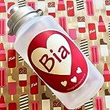 Rosa Herz Design Kids personalisierbar Trinkflasche mit Silber Deckel (550ml)–hinzufügen Ihren Namen. Mädchen Getränke Flasche, Kids Love Herz Wasser Flasche