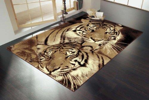 Alfombra con Diseño Animales Vida Silvestre - Tigres en Color Café - 2 Tamaños Disponibles - Café, 120 cm x 160 cm (4' x 5'3''), Sintético