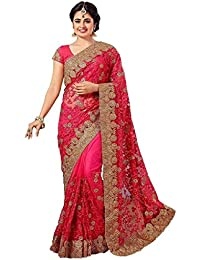 Shyora Designer Sarees Women's Pink Net Heavy Party Wear Saree For Women (ZohariPink-RADHE15# Pink)