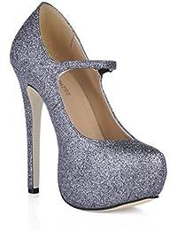 Best 4U® Botas de tobillo Bling de las mujeres suela de goma punta redonda 14 CM Súper tacón alto botas cómodas...
