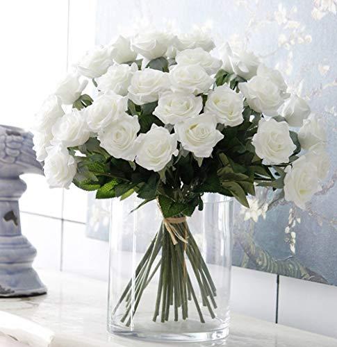 liche Rose,künstliche Rose Blumen Kunstblumen Blume Dekoration Blumenstrauß DIY Weiß Rosen Blumenarrangement ()