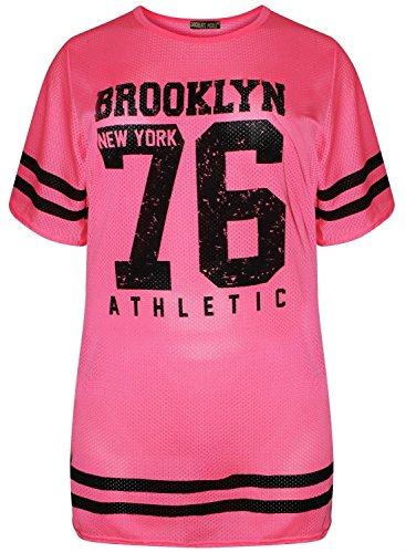 Neue Frauen fluoreszierend Air Tech 76 Anzahl Drucken sackartige Neon T-Shirts 36-54 Neon Pink