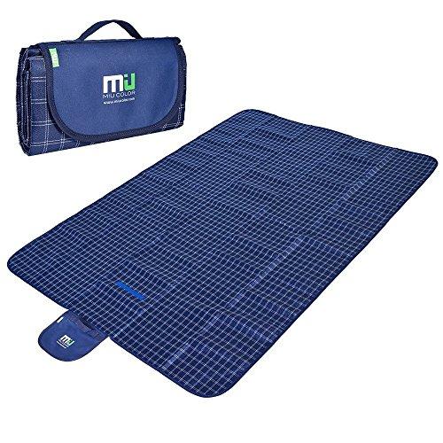 MIU COLOR® Picknickdecke Stranddecke 152 x198cm Wasserdichte Matte Decke für Camping Wandern Gras Reise (Schwarzblau)
