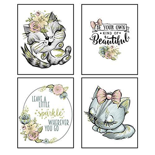 Silly Goose Gifts Leave A Little Sparkle Cat Gold Glitzer Art Print Design Wanddeko-Set Cat Set of 4 Gold