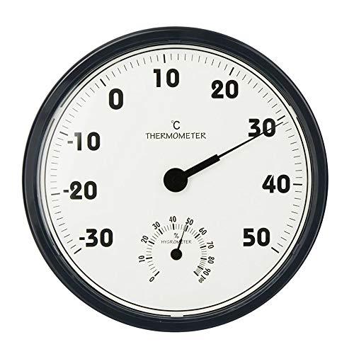 "ZUEN Indoor Outdoor Thermometer, Analog Thermo Hygrometer 2 in 1 Großbild-Haushalts-Wetterstation Thermometer Hygrometer Wandbehang, 12\""Schwarz"