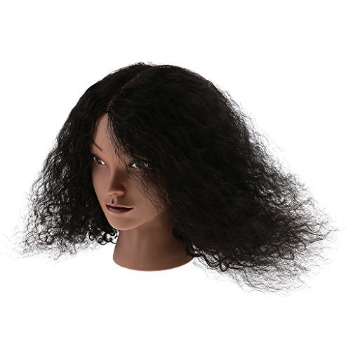 MagiDeal Tête De Mannequin pour Formation Pratique De Cosmétologie Coiffure Cheveux Bouclé Humains