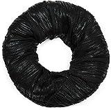 styleBREAKER Écharpe loop avec plis et paillettes sur toute la surface, châle, foulard, femmes 01016176, couleur:Noir/noir