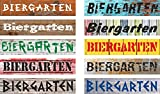 Schild Biergarten – 52x11cm – 10 Designs + 10 Schriften + Bohrlöcher Aufkleber Hartschaum Aluverbund -S00155A
