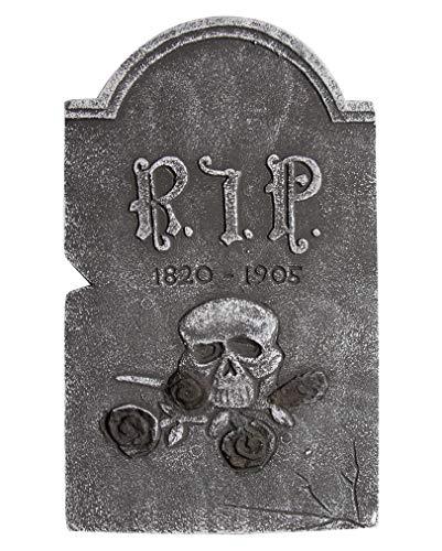 Horror-Shop Halloween Grabstein Schädel mit schwarzen Rosen
