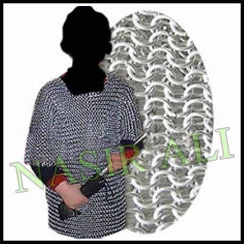 Shirt Chainmail Kostüm - Nasir Ali Aluminium Chainmail Shirt 10-15 Jahre Kind mittelalterlichen Kettenhemd Rüstung Kostüm Geschenk
