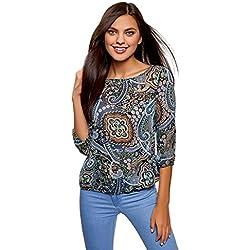 Mujer Blusa Estampada de Gasa, Azul, ES 36 / XS