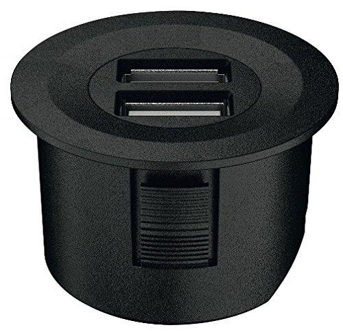 USB-Ladestation rund Loox ESC 2001 modular für Schreibtisch & Möbel | Kunststoff schwarz matt | Tisch-Ladestation für 12-V-System | Schutzart IP20 | Möbelbeschläge von GedoTec®