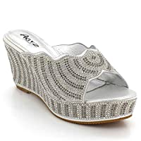 AARZ LONDON Womens Ladies Crystal Diamante Evening Wedding Party Prom Bridal Slip-On Wedge Heel Silver Sandals Shoes Size UK 5 EU 38