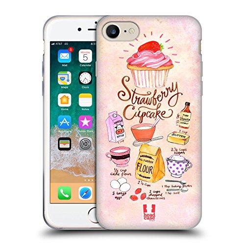 head case designs cupcake fragola ricette illustrate cover in morbido gel compatibile con iphone 7 / iphone 8