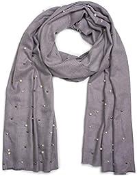 styleBREAKER écharpe douce et raffinée avec perles blanches et argents,  écharpe d hiver, 8399ef0bd151